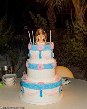 Guests feasted on a pink and blue, Barbie-topped birthday cake (Photo: Instagram)