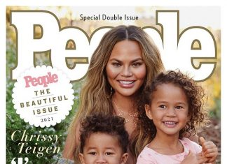 Teigen and her children appearing on the cover of People magazine (Photo: People/Release)